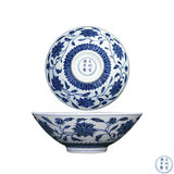 c-Blue and white flower wrapped lotus bowl