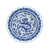 c-Blue and white dragon porcelain
